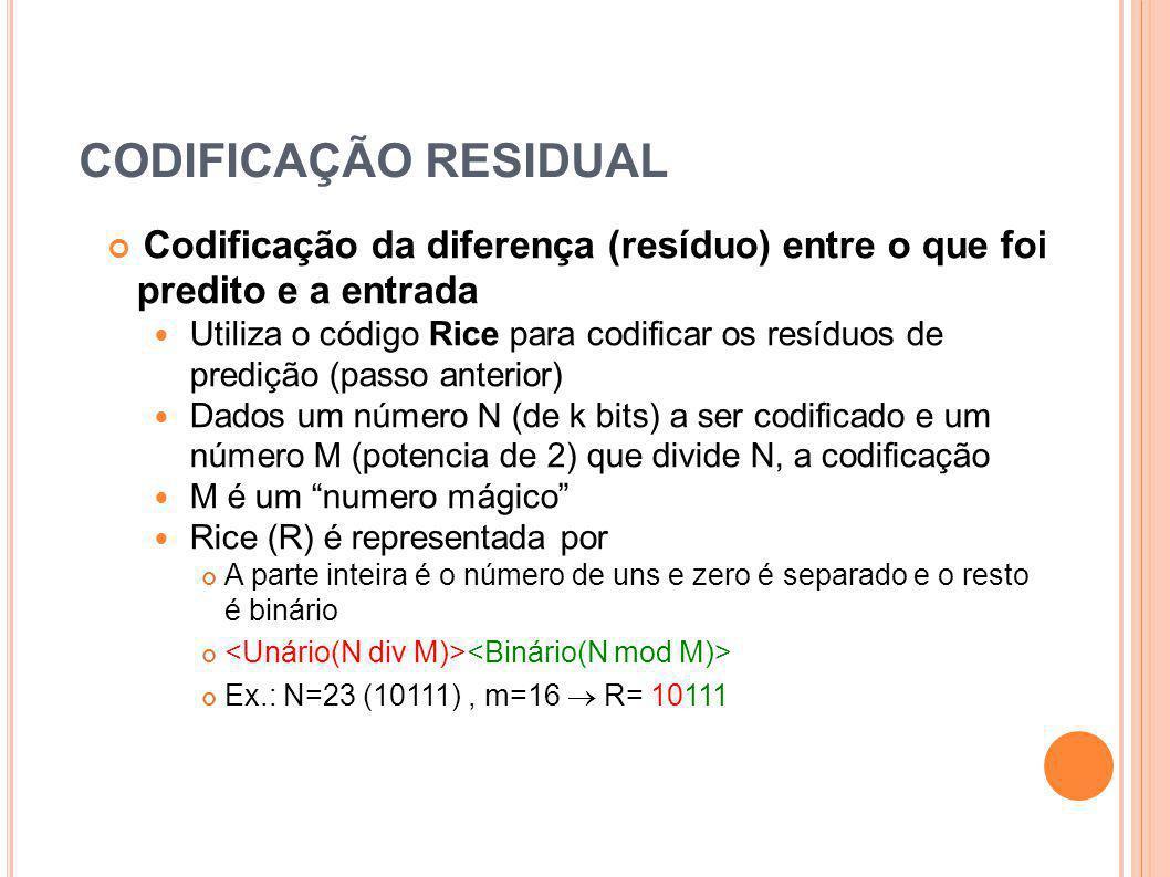 CODIFICAÇÃO RESIDUAL Codificação da diferença (resíduo) entre o que foi predito e a entrada Utiliza o código Rice para codificar os resíduos de prediç