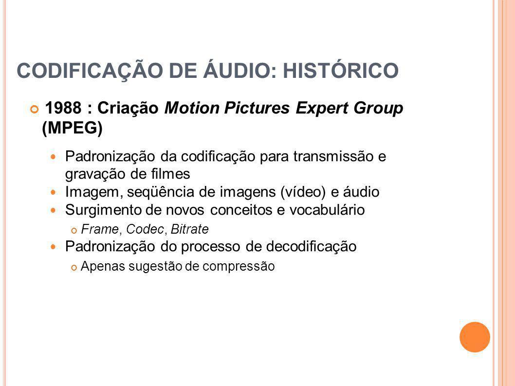 CODIFICAÇÃO DE ÁUDIO: HISTÓRICO 1988 : Criação Motion Pictures Expert Group (MPEG) Padronização da codificação para transmissão e gravação de filmes I