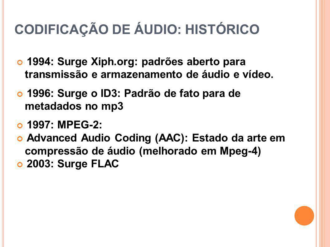 CODIFICAÇÃO DE ÁUDIO: HISTÓRICO 1994: Surge Xiph.org: padrões aberto para transmissão e armazenamento de áudio e vídeo. 1996: Surge o ID3: Padrão de f