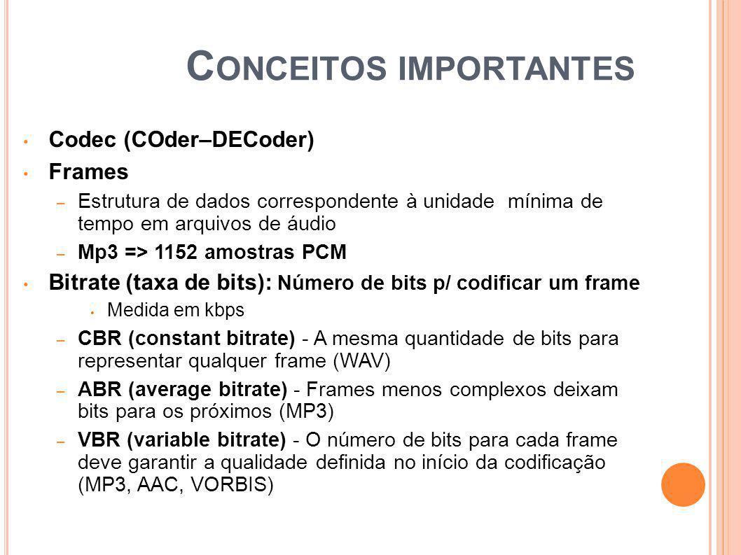 C ONCEITOS IMPORTANTES Codec (COder–DECoder) Frames – Estrutura de dados correspondente à unidade mínima de tempo em arquivos de áudio – Mp3 => 1152