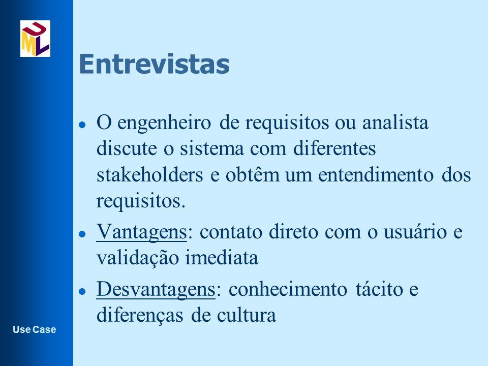 Use Case Entrevistas l O engenheiro de requisitos ou analista discute o sistema com diferentes stakeholders e obtêm um entendimento dos requisitos.