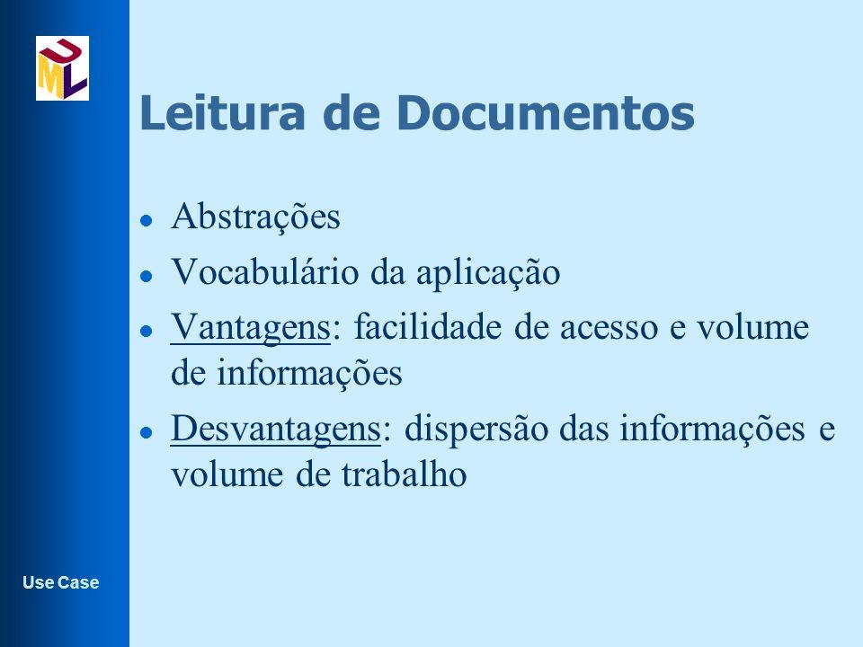 Use Case Leitura de Documentos l Abstrações l Vocabulário da aplicação l Vantagens: facilidade de acesso e volume de informações l Desvantagens: dispersão das informações e volume de trabalho