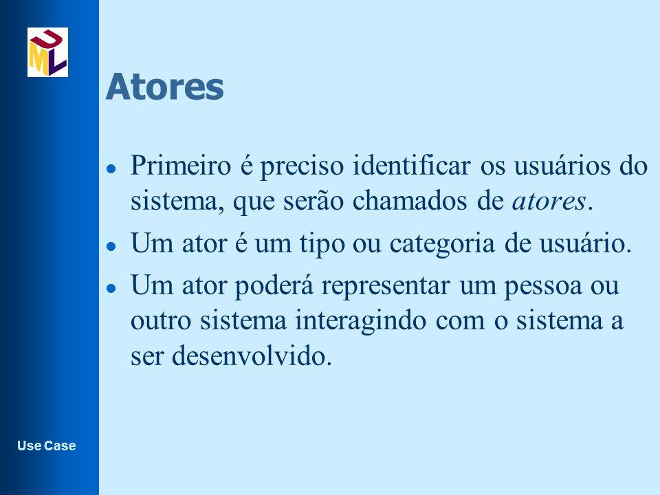 Use Case Atores l Primeiro é preciso identificar os usuários do sistema, que serão chamados de atores.