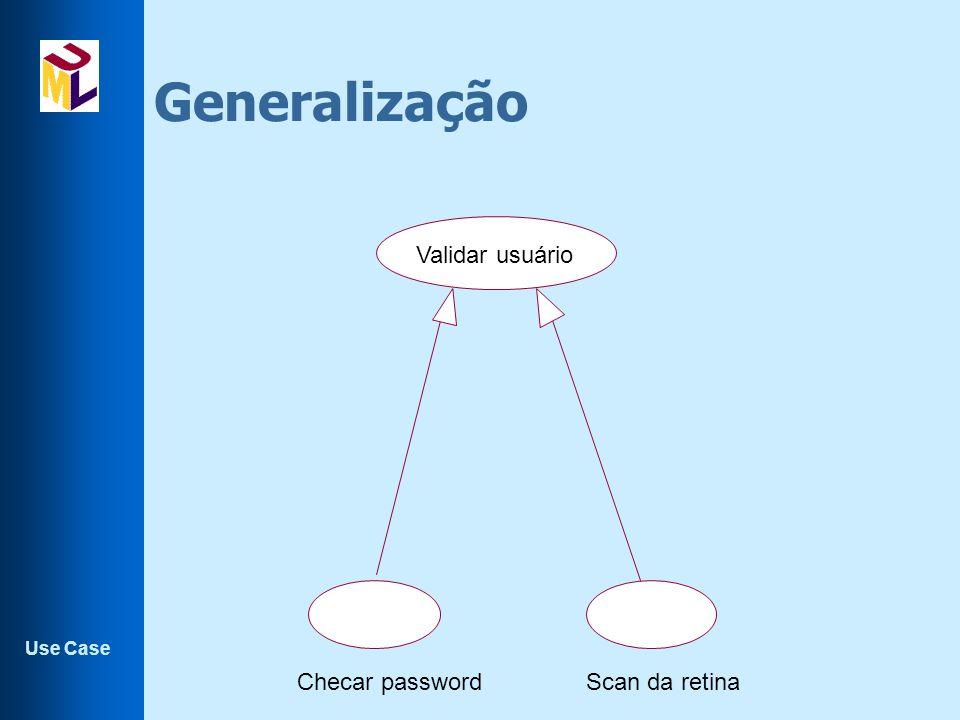 Use Case Generalização Validar usuário Checar passwordScan da retina