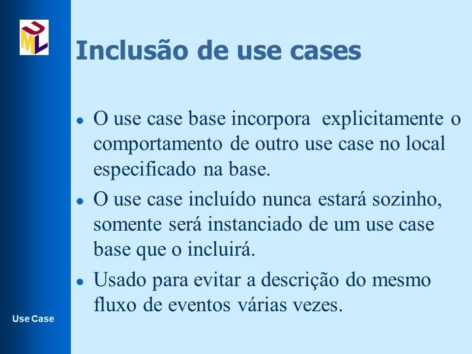 Use Case Inclusão de use cases l O use case base incorpora explicitamente o comportamento de outro use case no local especificado na base.