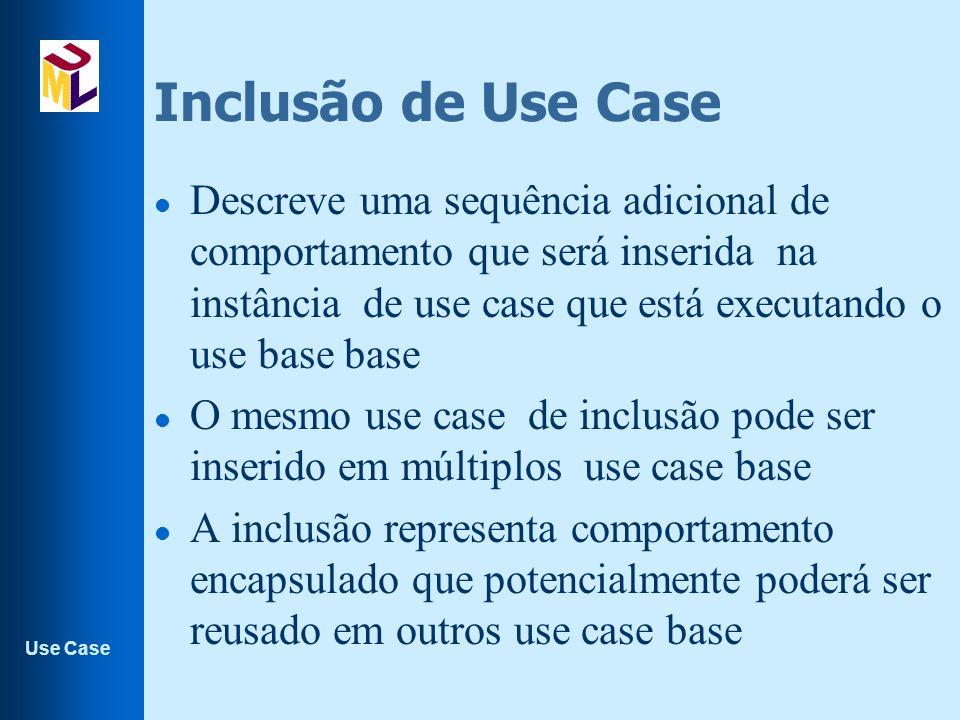 Use Case Inclusão de Use Case l Descreve uma sequência adicional de comportamento que será inserida na instância de use case que está executando o use base base l O mesmo use case de inclusão pode ser inserido em múltiplos use case base l A inclusão representa comportamento encapsulado que potencialmente poderá ser reusado em outros use case base