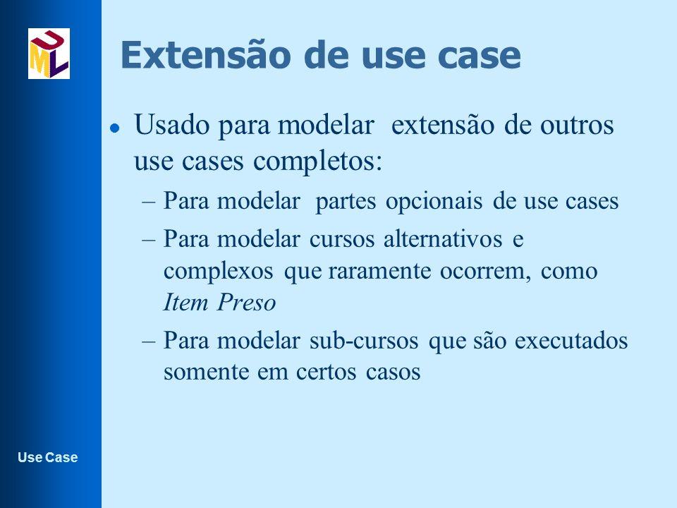 Use Case Extensão de use case l Usado para modelar extensão de outros use cases completos: –Para modelar partes opcionais de use cases –Para modelar cursos alternativos e complexos que raramente ocorrem, como Item Preso –Para modelar sub-cursos que são executados somente em certos casos