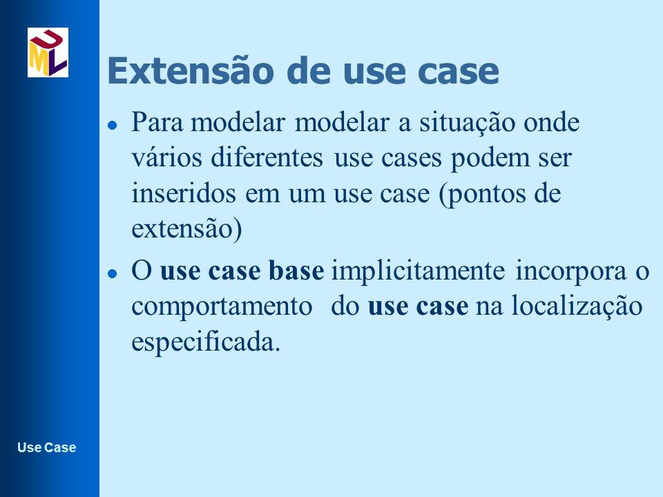 Use Case Extensão de use case l Para modelar modelar a situação onde vários diferentes use cases podem ser inseridos em um use case (pontos de extensão) l O use case base implicitamente incorpora o comportamento do use case na localização especificada.