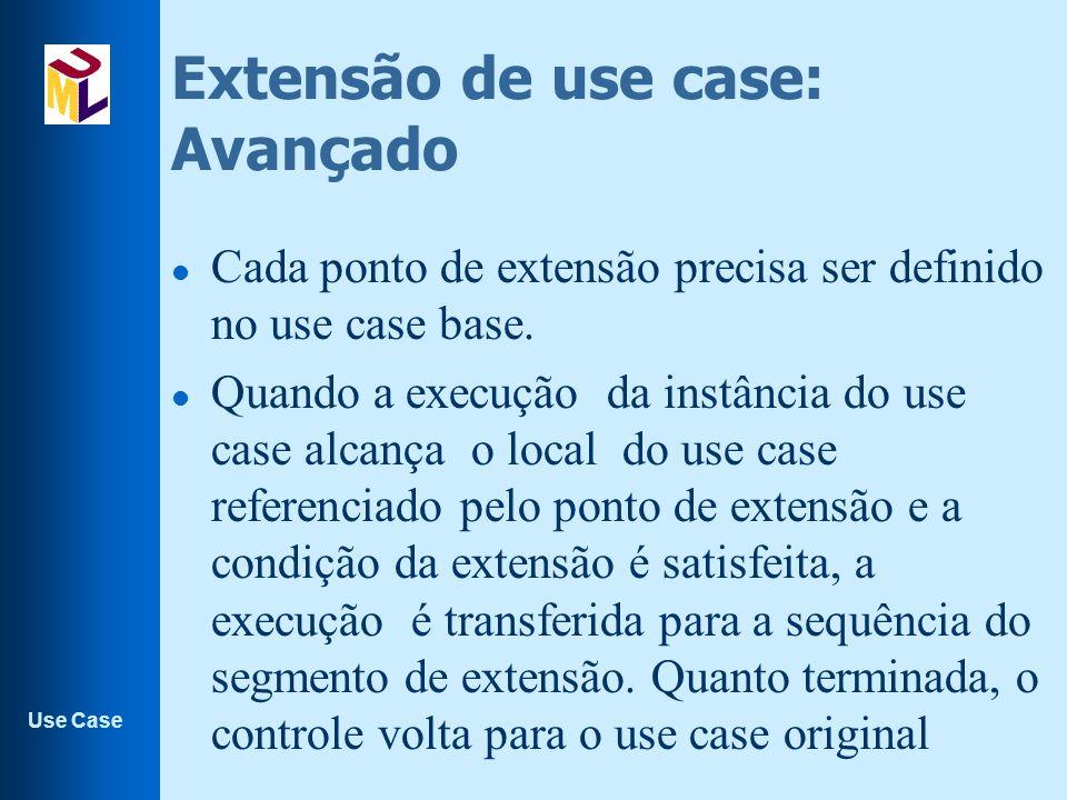 Use Case Extensão de use case: Avançado l Cada ponto de extensão precisa ser definido no use case base.