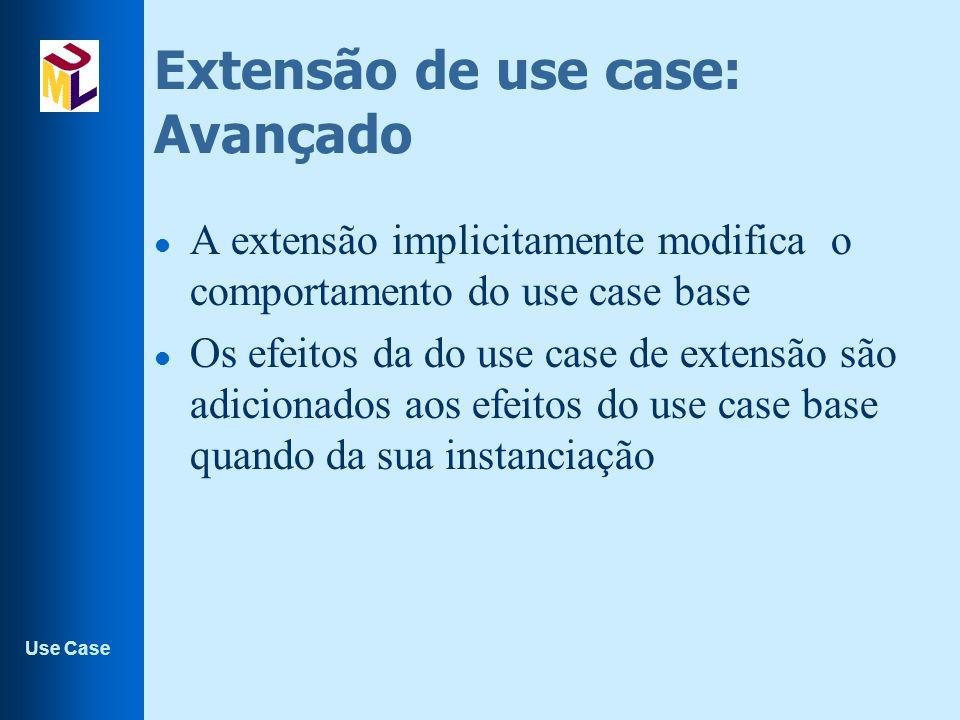 Use Case Extensão de use case: Avançado l A extensão implicitamente modifica o comportamento do use case base l Os efeitos da do use case de extensão são adicionados aos efeitos do use case base quando da sua instanciação