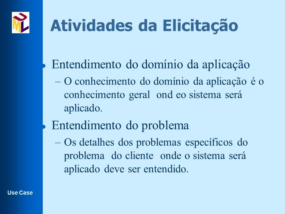 Use Case Atividades da Elicitação l Entendimento do negócio –Você deve entender como os sistemas interagem e contribuem de forma geral com os objetivos de negócio.