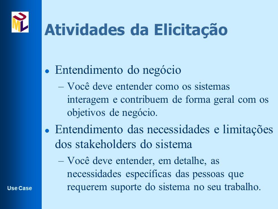 Use Case Papéis l Atores além de pessoas ou subsistemas, podem ser papéis desempenhados por uma mesma pessoa, ou subsistema.
