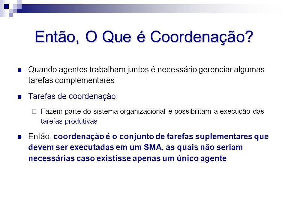 Então, O Que é Coordenação? Quando agentes trabalham juntos é necessário gerenciar algumas tarefas complementares Tarefas de coordenação:  Fazem part