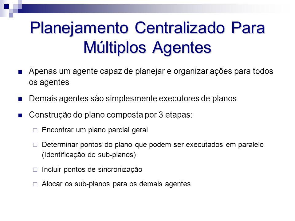 Planejamento Centralizado Para Múltiplos Agentes Apenas um agente capaz de planejar e organizar ações para todos os agentes Demais agentes são simples