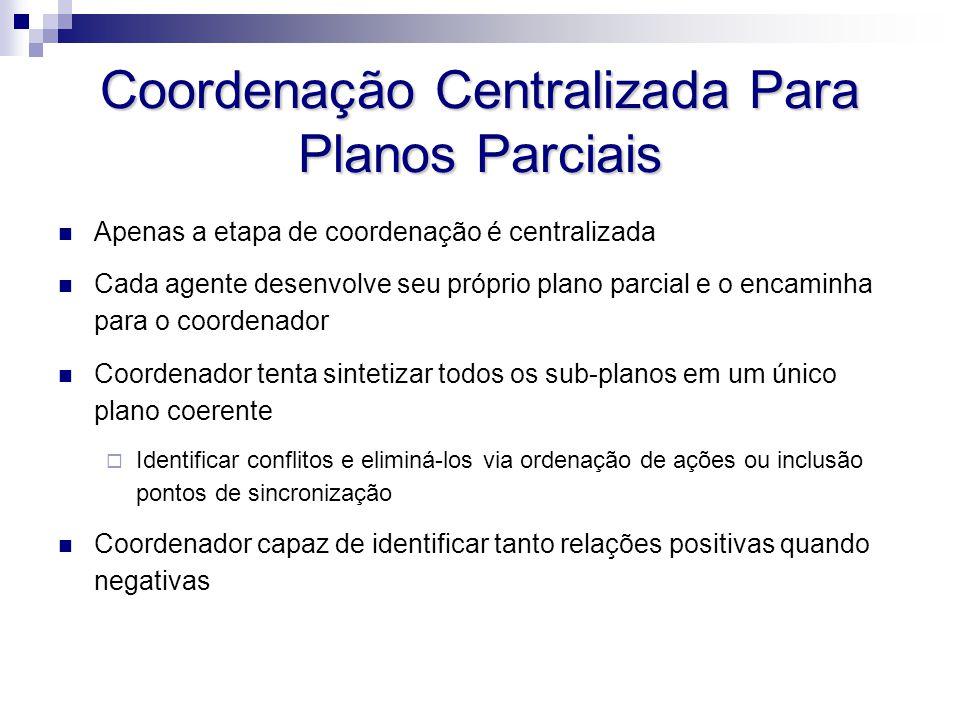 Coordenação Centralizada Para Planos Parciais Apenas a etapa de coordenação é centralizada Cada agente desenvolve seu próprio plano parcial e o encami