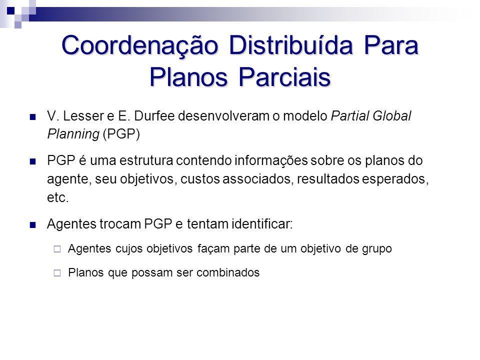 Coordenação Distribuída Para Planos Parciais V. Lesser e E. Durfee desenvolveram o modelo Partial Global Planning (PGP) PGP é uma estrutura contendo i