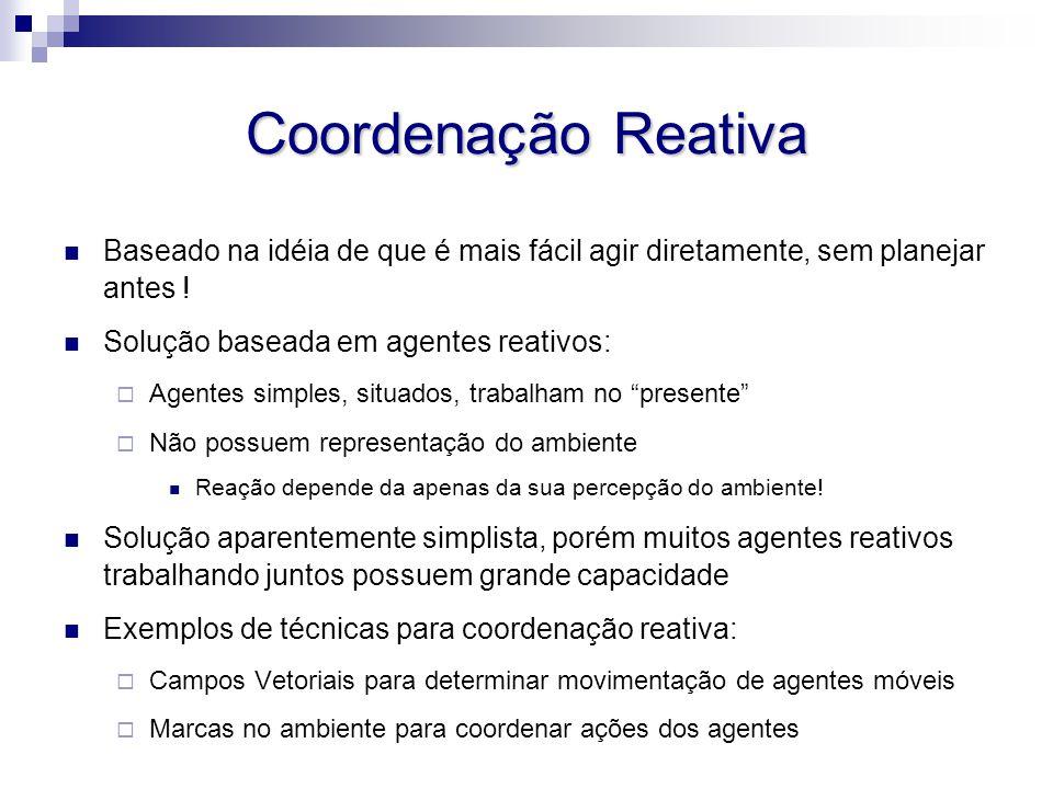 Coordenação Reativa Baseado na idéia de que é mais fácil agir diretamente, sem planejar antes ! Solução baseada em agentes reativos:  Agentes simples