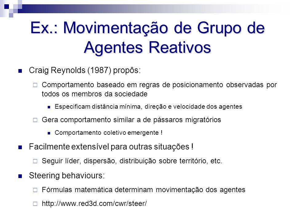 Ex.: Movimentação de Grupo de Agentes Reativos Craig Reynolds (1987) propôs:  Comportamento baseado em regras de posicionamento observadas por todos