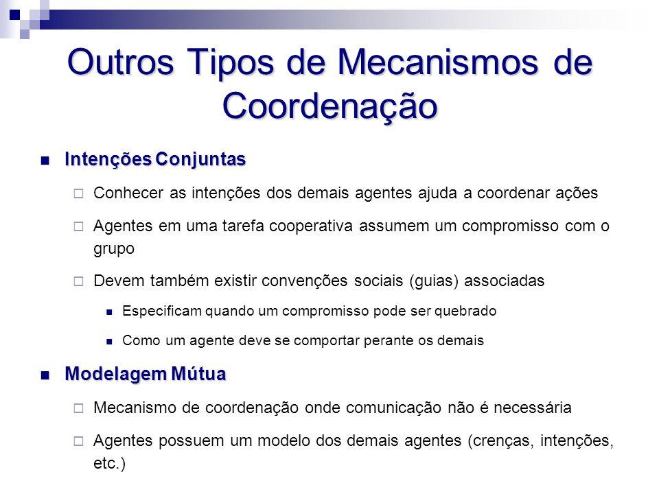 Outros Tipos de Mecanismos de Coordenação Intenções Conjuntas Intenções Conjuntas  Conhecer as intenções dos demais agentes ajuda a coordenar ações 