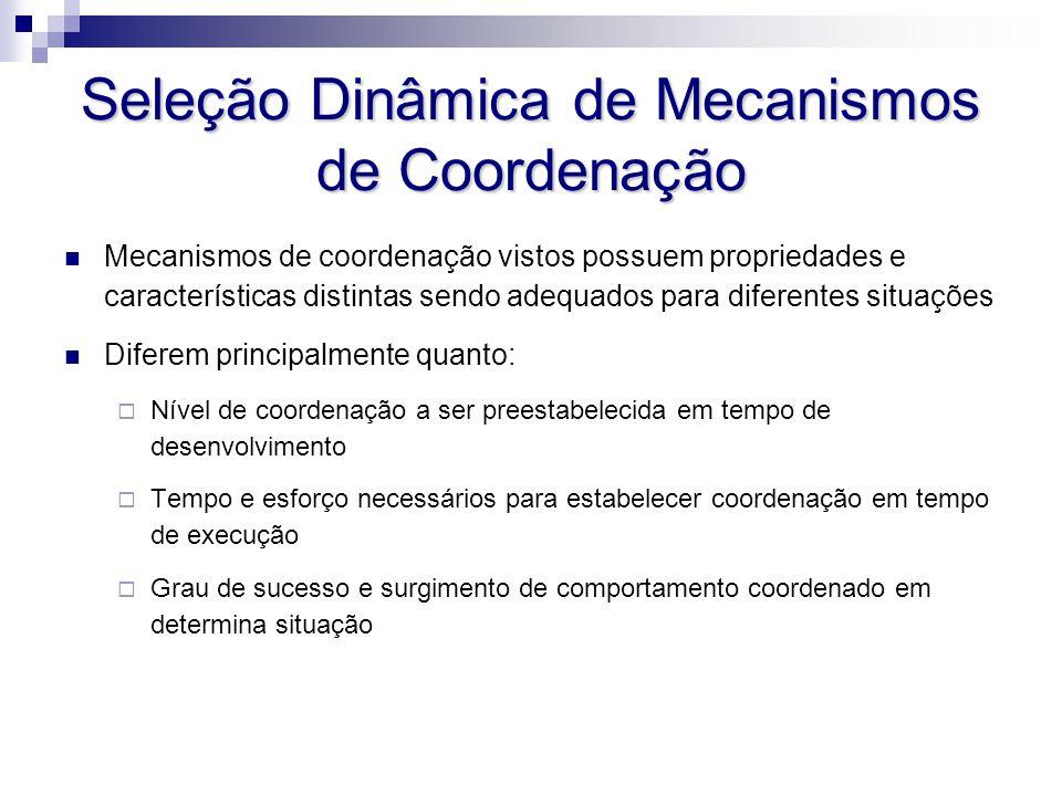 Seleção Dinâmica de Mecanismos de Coordenação Mecanismos de coordenação vistos possuem propriedades e características distintas sendo adequados para d