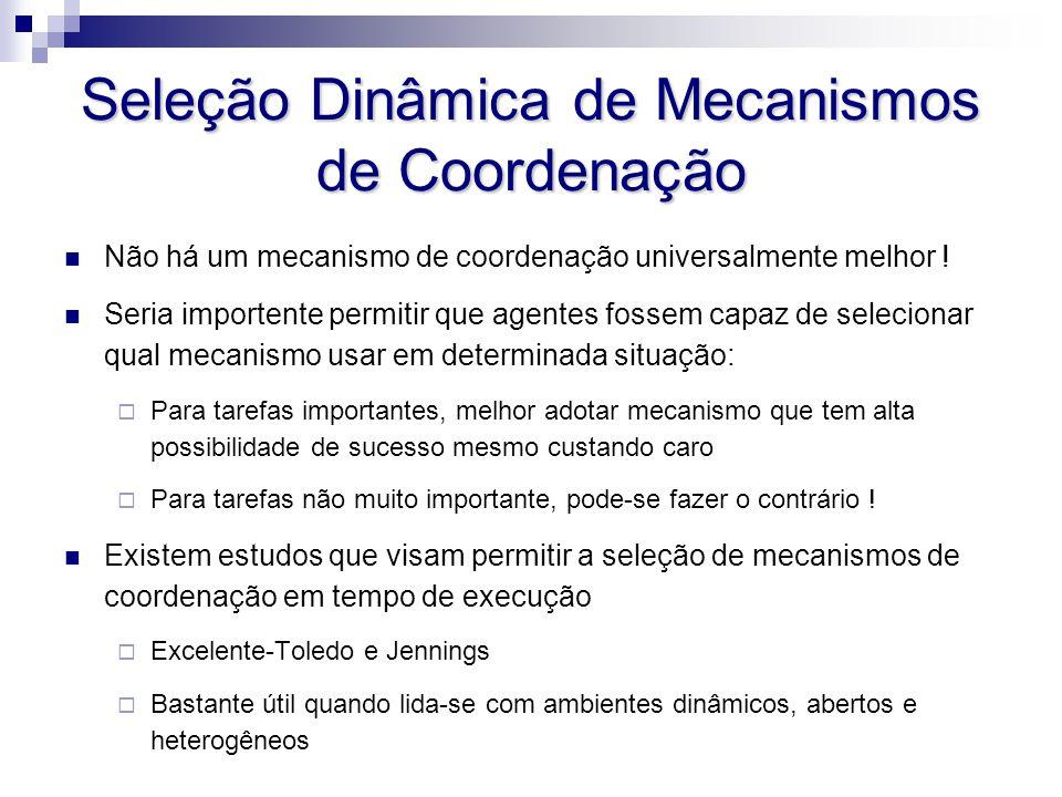 Seleção Dinâmica de Mecanismos de Coordenação Não há um mecanismo de coordenação universalmente melhor ! Seria importente permitir que agentes fossem