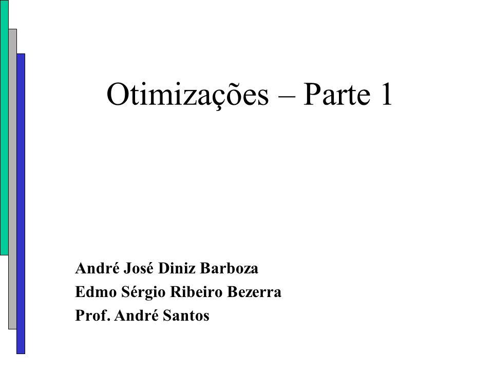 Otimizações – Parte 1 André José Diniz Barboza Edmo Sérgio Ribeiro Bezerra Prof. André Santos