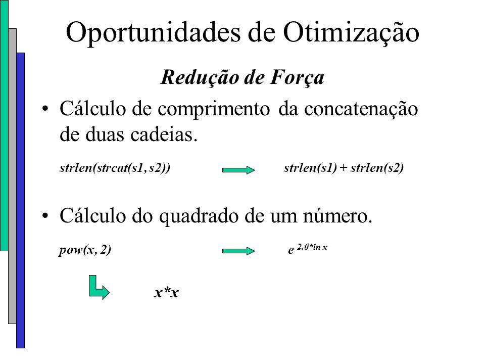 Oportunidades de Otimização Redução de Força Cálculo de comprimento da concatenação de duas cadeias. strlen(strcat(s1, s2)) strlen(s1) + strlen(s2) Cá