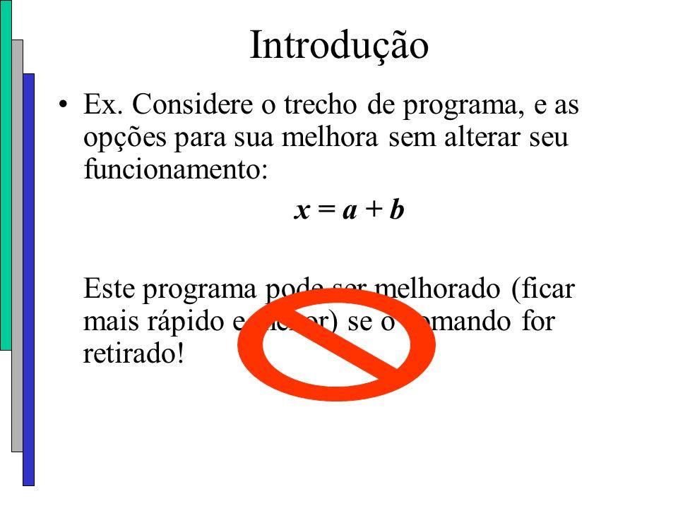 Introdução Ex. Considere o trecho de programa, e as opções para sua melhora sem alterar seu funcionamento: x = a + b Este programa pode ser melhorado
