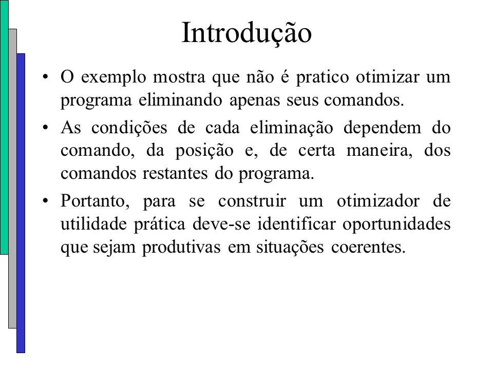 Introdução O exemplo mostra que não é pratico otimizar um programa eliminando apenas seus comandos. As condições de cada eliminação dependem do comand