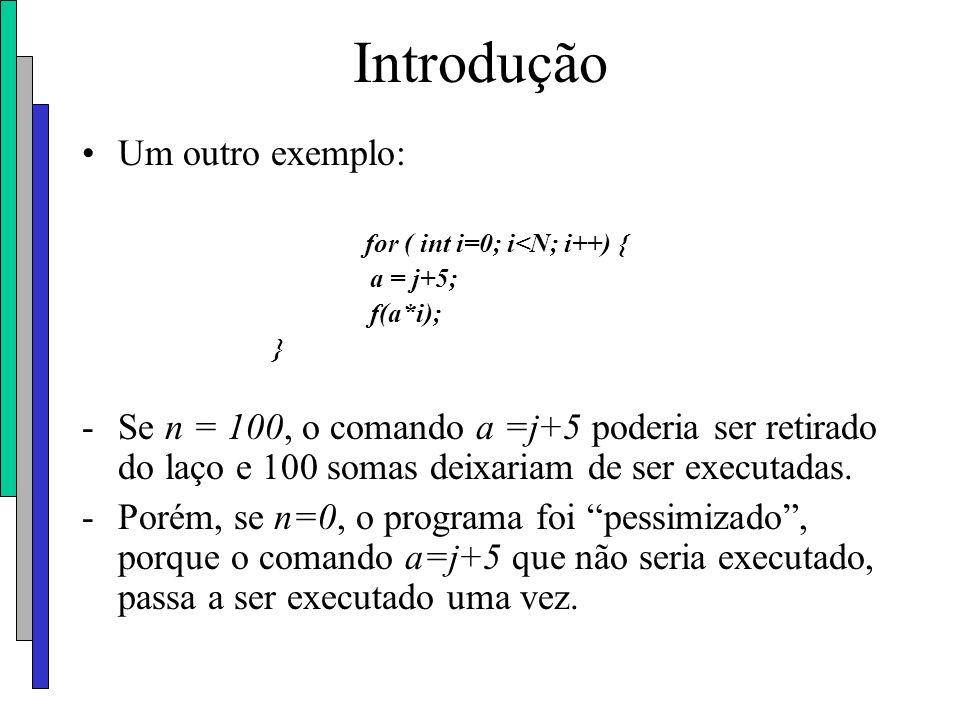 Introdução Um outro exemplo: for ( int i=0; i<N; i++) { a = j+5; f(a*i); } -Se n = 100, o comando a =j+5 poderia ser retirado do laço e 100 somas deix