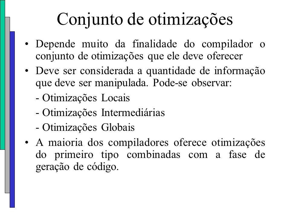 Conjunto de otimizações Depende muito da finalidade do compilador o conjunto de otimizações que ele deve oferecer Deve ser considerada a quantidade de