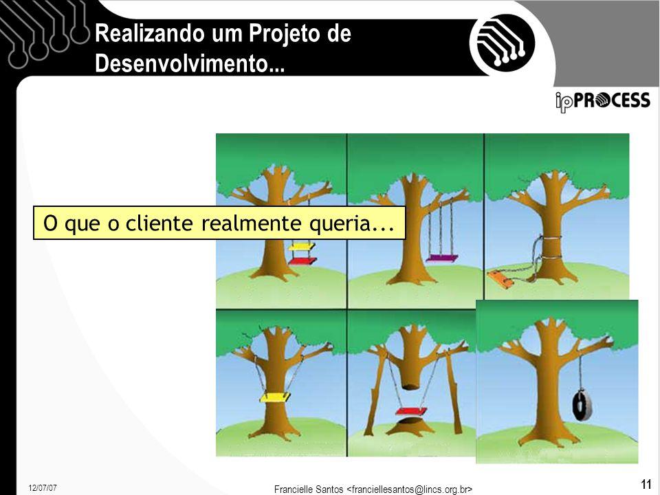 12/07/07 Francielle Santos 11 Realizando um Projeto de Desenvolvimento...