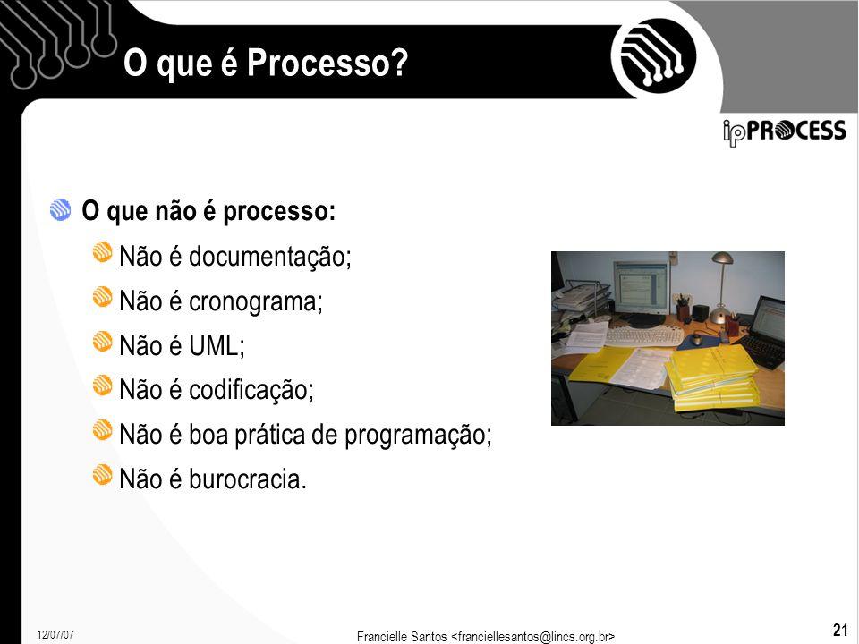 12/07/07 Francielle Santos 21 O que é Processo.