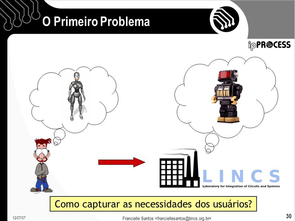12/07/07 Francielle Santos 30 O Primeiro Problema Como capturar as necessidades dos usuários