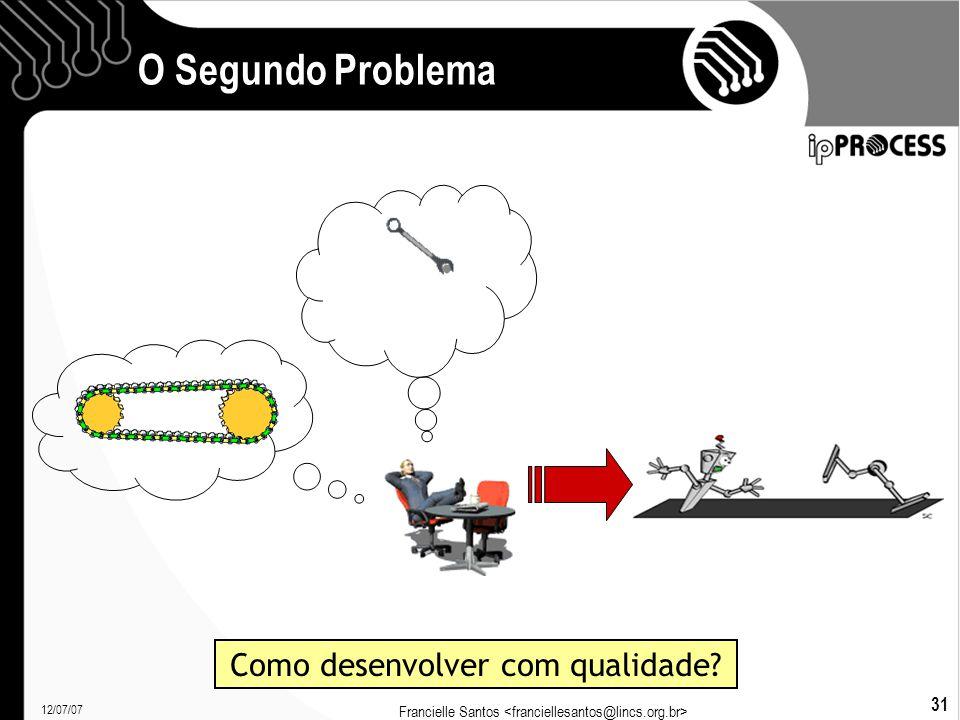 12/07/07 Francielle Santos 31 O Segundo Problema Como desenvolver com qualidade?