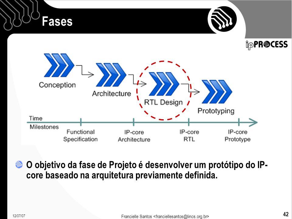 12/07/07 Francielle Santos 42 Fases O objetivo da fase de Projeto é desenvolver um protótipo do IP- core baseado na arquitetura previamente definida.