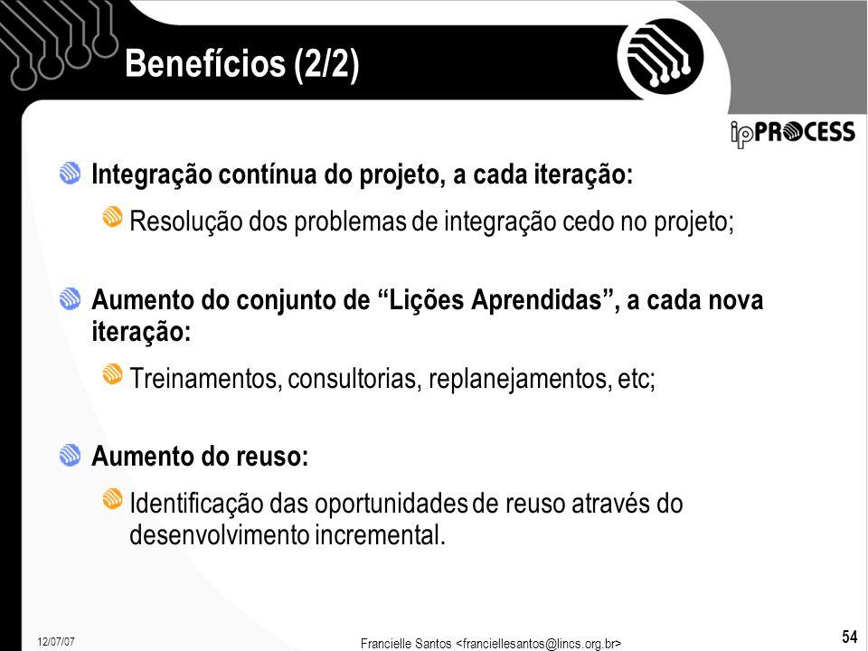 12/07/07 Francielle Santos 54 Benefícios (2/2)  Integração contínua do projeto, a cada iteração: Resolução dos problemas de integração cedo no projeto; Aumento do conjunto de Lições Aprendidas , a cada nova iteração: Treinamentos, consultorias, replanejamentos, etc; Aumento do reuso: Identificação das oportunidades de reuso através do desenvolvimento incremental.