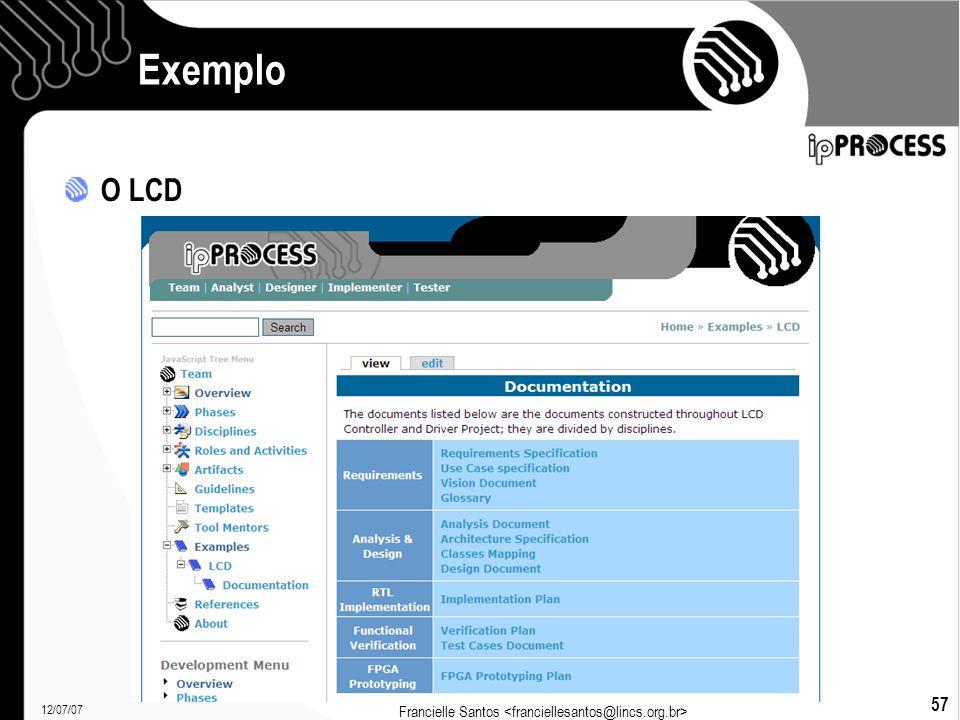 12/07/07 Francielle Santos 57 Exemplo O LCD