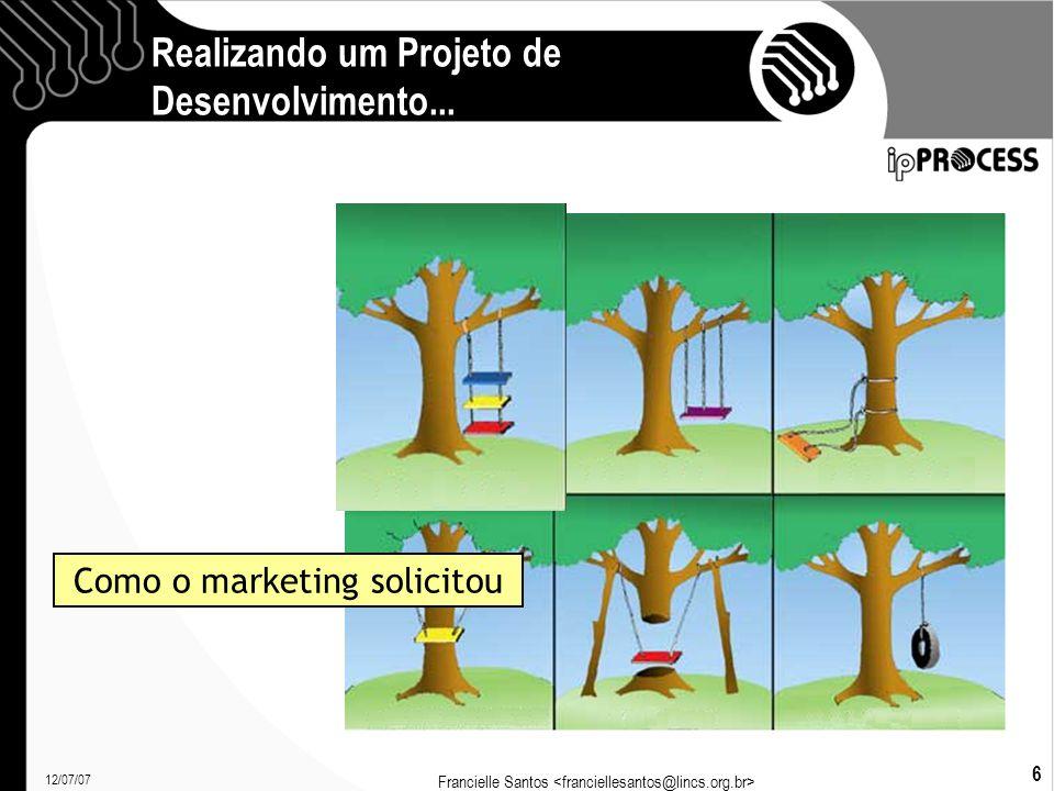 12/07/07 Francielle Santos 27 Processos Definem: O que é feito: Produto, atividades, passos; Como é feito: Guias e boas práticas; Por quem é feito: Papéis; Quando é feito: Pré-requisitos, fluxos; O que usa e produz : Artefatos.