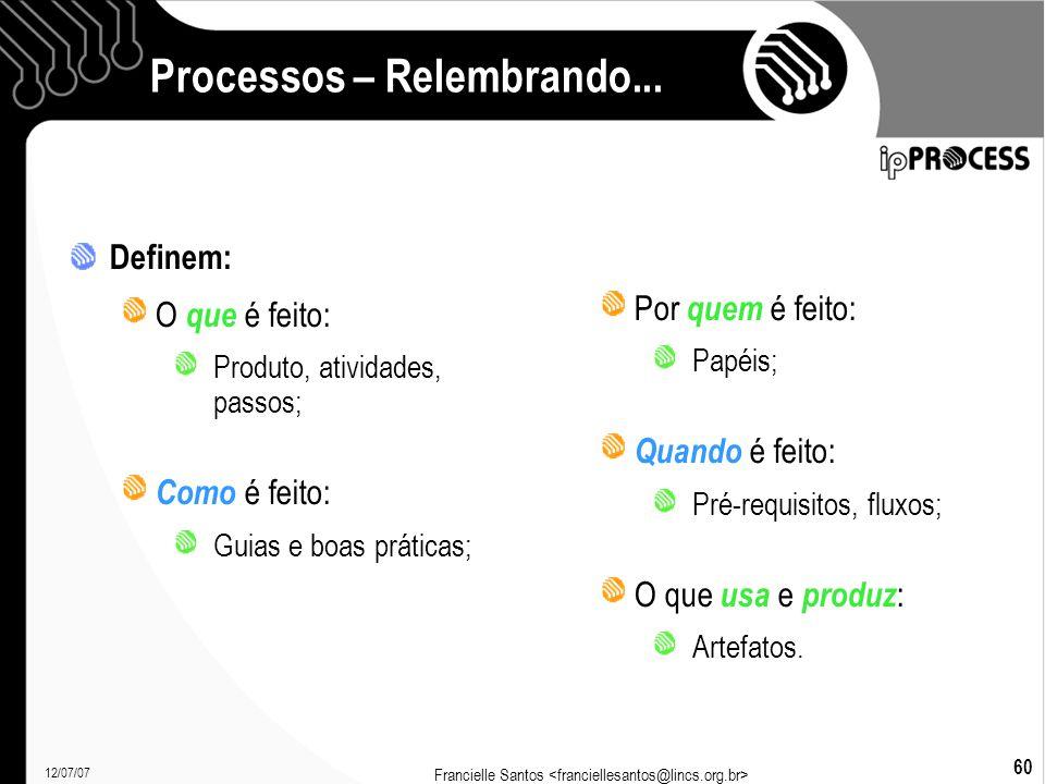 12/07/07 Francielle Santos 60 Processos – Relembrando...