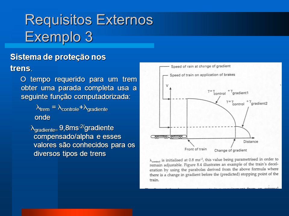 Requisitos Externos Exemplo 3 Sistema de proteção nos trens.