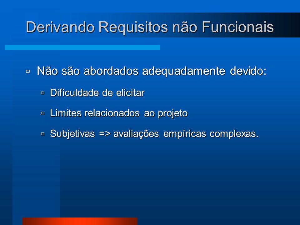 Derivando Requisitos não Funcionais  Não são abordados adequadamente devido:  Dificuldade de elicitar  Limites relacionados ao projeto  Subjetivas => avaliações empíricas complexas.