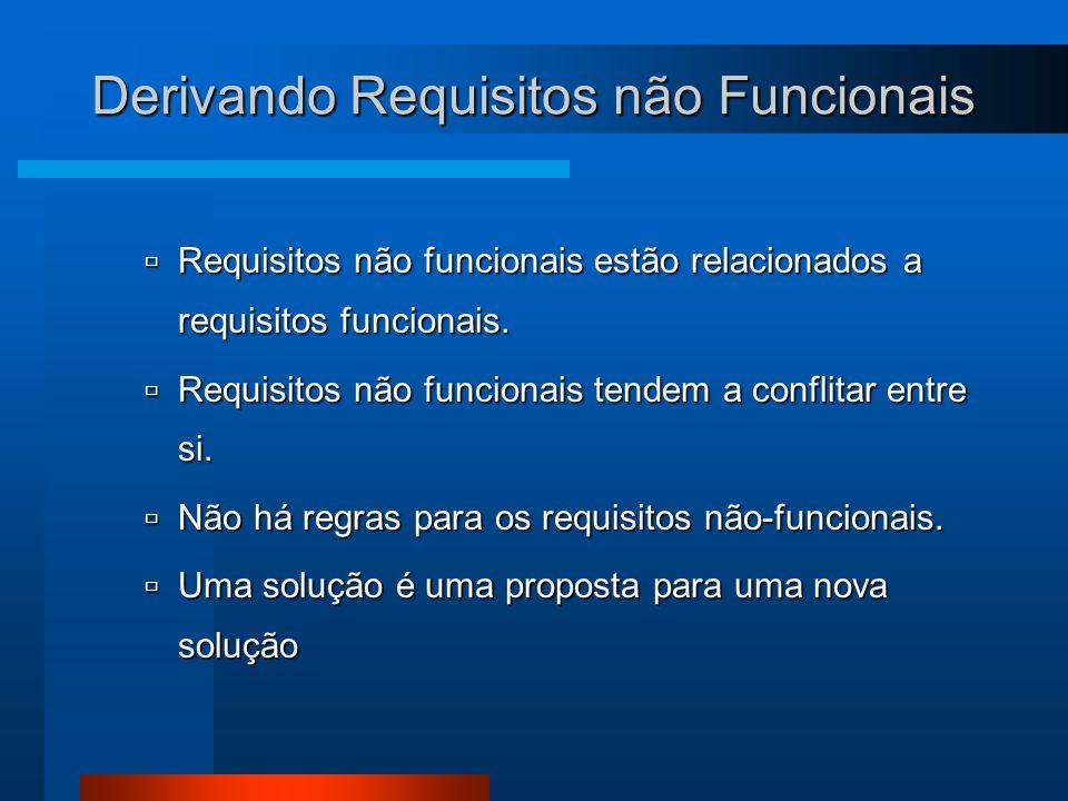 Derivando Requisitos não Funcionais  Requisitos não funcionais estão relacionados a requisitos funcionais.  Requisitos não funcionais tendem a confl