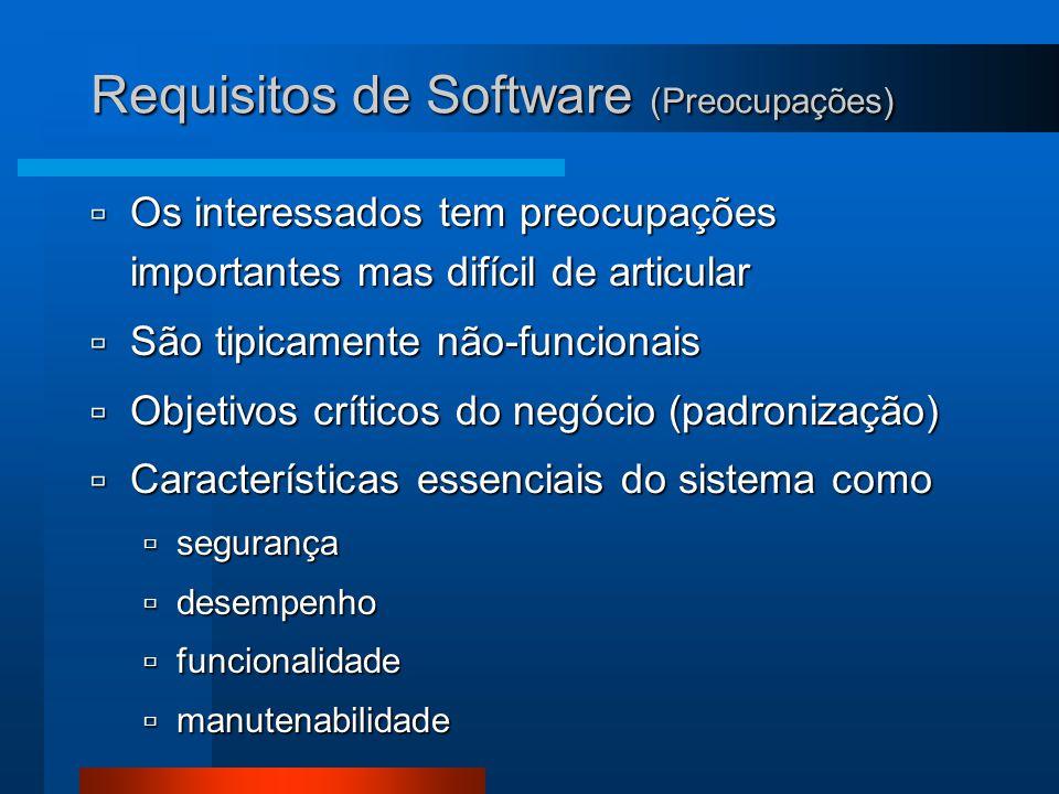 Requisitos de Software (Preocupações)  Os interessados tem preocupações importantes mas difícil de articular  São tipicamente não-funcionais  Objetivos críticos do negócio (padronização)  Características essenciais do sistema como  segurança  desempenho  funcionalidade  manutenabilidade