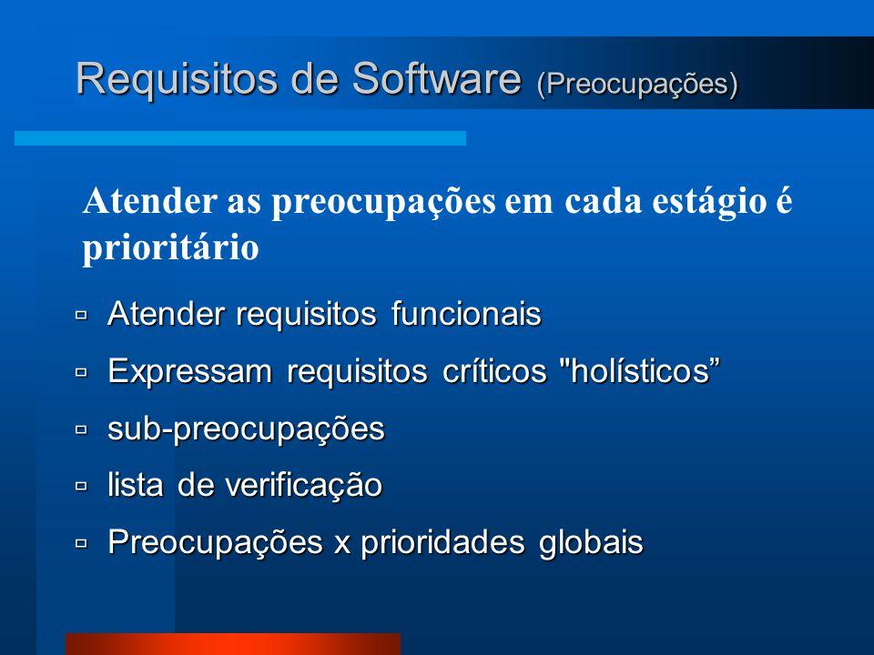 Atender as preocupações em cada estágio é prioritário  Atender requisitos funcionais  Expressam requisitos críticos holísticos  sub-preocupações  lista de verificação  Preocupações x prioridades globais Requisitos de Software (Preocupações)