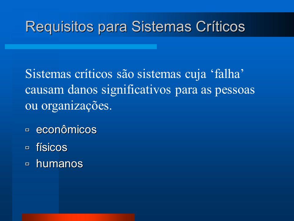 Sistemas críticos são sistemas cuja 'falha' causam danos significativos para as pessoas ou organizações.