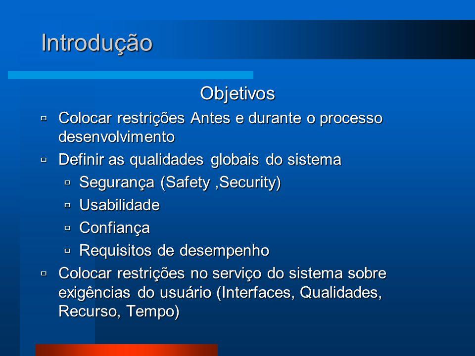 Introdução Objetivos  Colocar restrições Antes e durante o processo desenvolvimento  Definir as qualidades globais do sistema  Segurança (Safety,Se