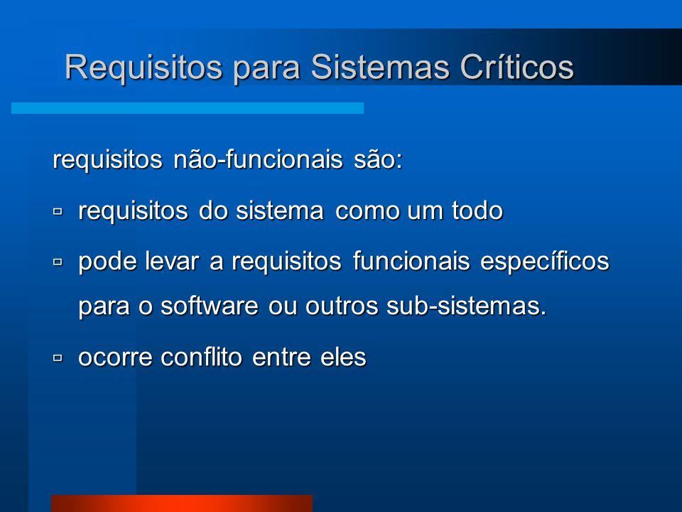 Requisitos para Sistemas Críticos requisitos não-funcionais são:  requisitos do sistema como um todo  pode levar a requisitos funcionais específicos para o software ou outros sub-sistemas.