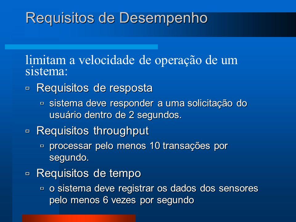limitam a velocidade de operação de um sistema: Requisitos de Desempenho  Requisitos de resposta  sistema deve responder a uma solicitação do usuário dentro de 2 segundos.