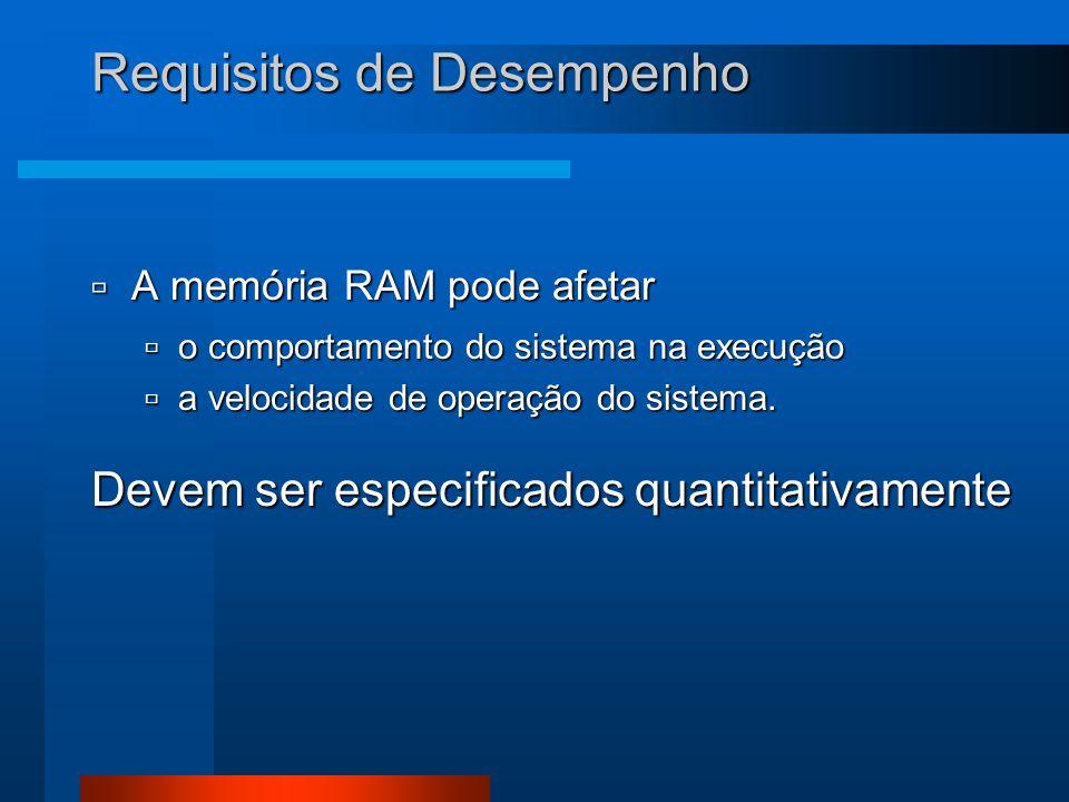 Requisitos de Desempenho  A memória RAM pode afetar  o comportamento do sistema na execução  a velocidade de operação do sistema. Devem ser especif
